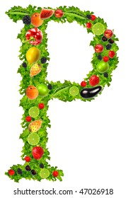 Fruit and vegetable letter P