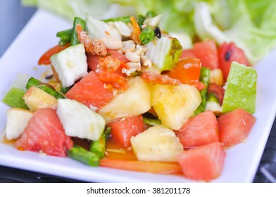 fruit and vegetable salad dish, spicy fruit salad dish