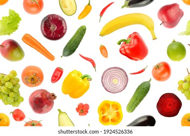 Fruit vegetable seamless pattern isolated on white background.