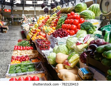 Fruit and vegetable stall in market in St Petersberg, russia,