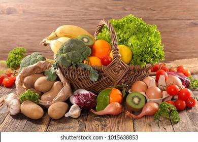 fruit and vegetable in wicker basket