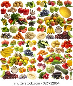 Fruit and vegetables isolated