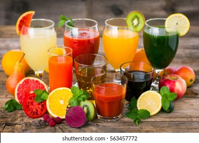 Fruit and vegetables juices and smoothies