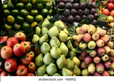 fruit and vegetables on a market in barcelona