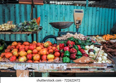 Fruit and vegetables stand at a local market in Neptuno street, Havana, Cuba