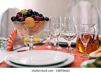 Fruit wine glasses in a restaurant table setting