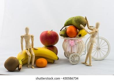 fruit and wooden men,animal manikins fruit