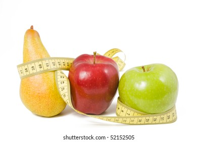 fruit wrap a measuring tape on white background