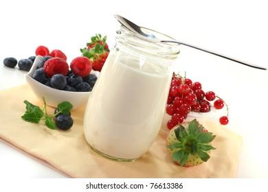 Fruit yoghurt with different varieties of berries