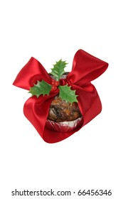 fruitcake decorated with christmas ribbons