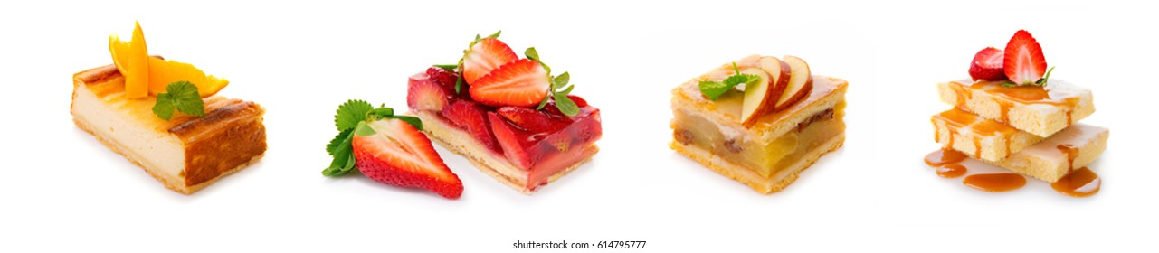 Fruitcake and strawberry pie isolated on white.