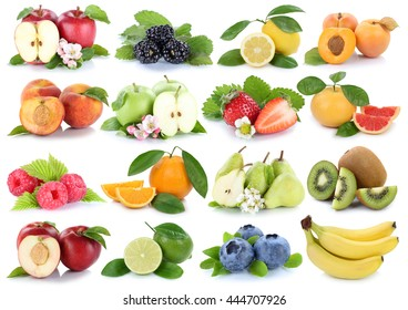 Fruits apple orange berries apples oranges banana strawberry fresh fruit collection isolated on a white background