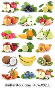 Fruits apple orange berries apples oranges banana fresh fruit strawberry pear collection isolated on white