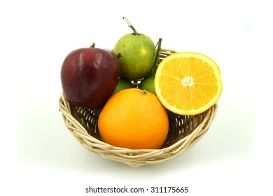 fruits in the basket , isolate on white background