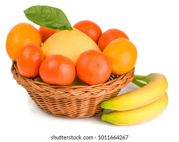 fruits in basket on white background