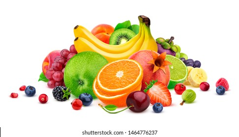 Fruits and berries assortment isolated on white background with clipping path, heap of different tropical fruits salad, collection