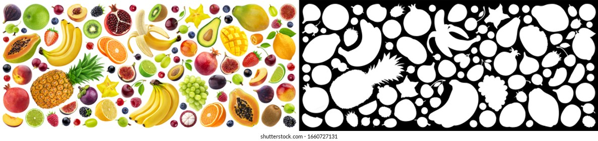Fruits and berries collection isolated on white background with clipping path and alpha channel