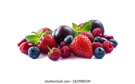 Fruits and berries isolated on white background. Ripe strawberries, blueberries, raspberries, red berries and plums.  Mix berries with copy space for text. Black-blue and red berries on white.