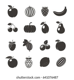 Fruits Black Icons. Different fruits icons on white background. illustration