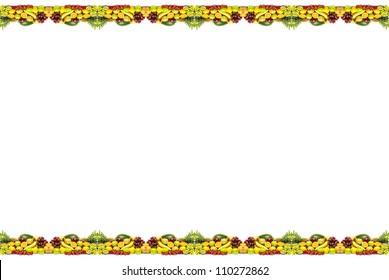 Fruits border, banana, orange, lemon, pineapple, kiwi, strawberry, apple, grape