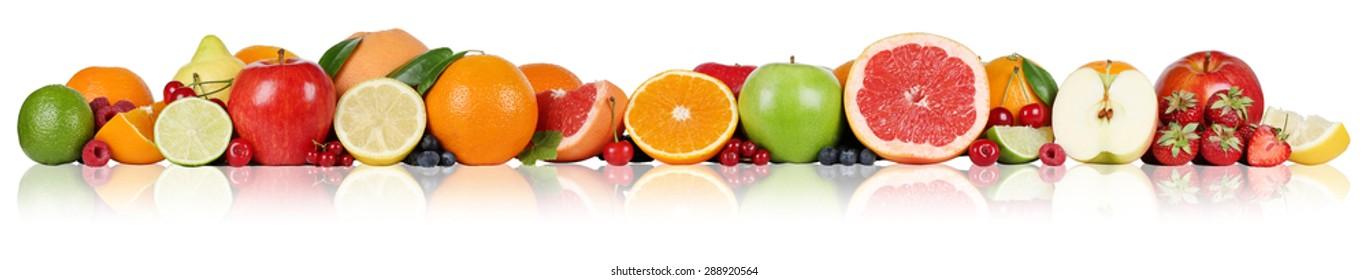 Fruits border oranges lemon apple berry raspberry strawberry in a row