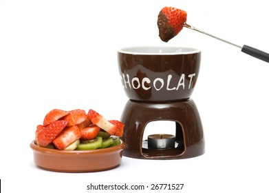 Fruits and chocolate fondue