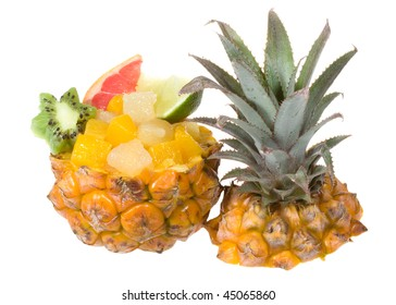 fruits cocktail with pineapple on white background