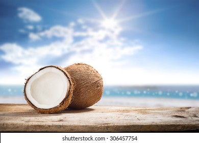 fruits of coconuts on desk space