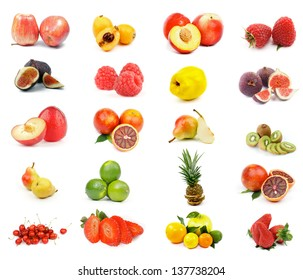 Fruits Collection with Apples, Oranges, Kiwi, Pineapple, Blood Orange, Nectarines, Lemon, Lime, Figs, Raspberries, Cherry, Strawberries, Peas and Loquat Medlar isolated on white background