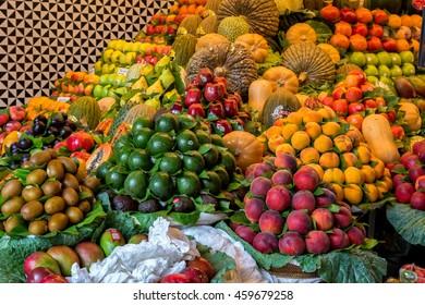 Fruits de Mercat de Sant Josep de la Boqueria in Barcelona of Spain, july 05 2016 Barcelona, Spain