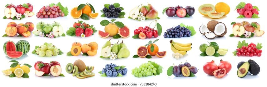 Fruits fruit collection fresh orange apple lemon berries isolated on a white background