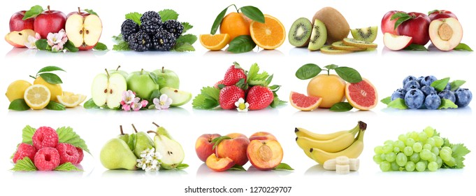 Fruits fruit collection orange apple apples banana strawberry cherry organic isolated on a white background