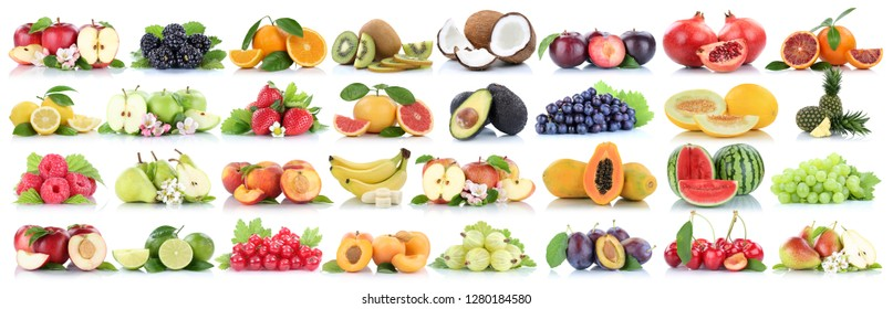 Fruits fruit collection orange apple apples melon lemon pineapple cherry organic isolated on a white background