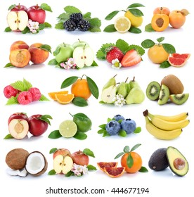Fruits fruit collection orange apple apples banana strawberry isolated on a white background