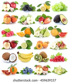 Fruits fruit collection orange apple apples banana pear grapes strawberry isolated on a white background