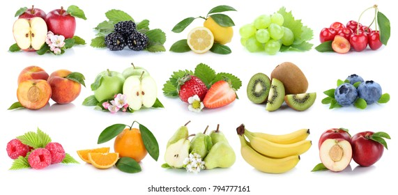 Fruits fruit collection orange apple apples kiwi strawberry pear grapes cherry isolated on a white background