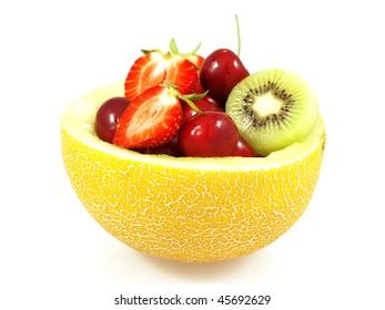 Fruits in honeydew melon.