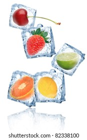 Fruits in ice cubes isolated
