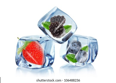 Fruits in Ice cubes over white
