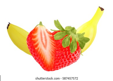 Fruits isolated on white background as package design element. Healthy eating. Food photography.