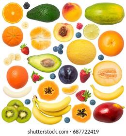 Fruits isolated on white background: peach, strawberry, plum, melon, papaya, avocado, blackberry, blueberry, raspberry, lime, avocado, banana, mango, tangerine, tangelo, orange, kiwi - Shutterstock ID 687722419