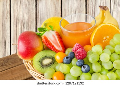 Fruits and juice in a basket