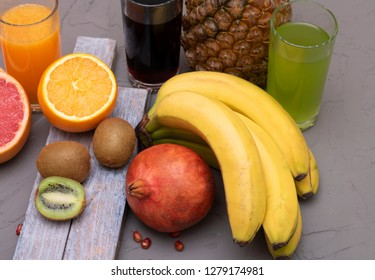 fruits for juices, coktails and smoothie, copy space, chalk background