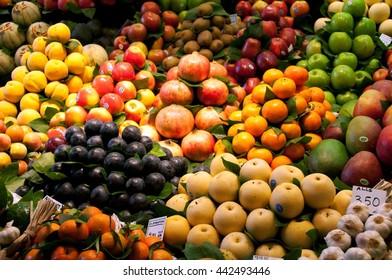 Fruits in Market, Barcelona, Spain