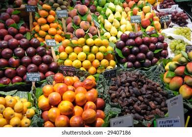 Fruits at market La Boqueria in Barcelona Spain