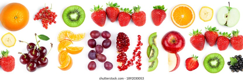 Fruits. Mixed fruits and berries on the white background. Fresh food. Word fruit.