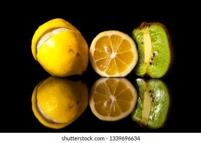 Fruits on black background