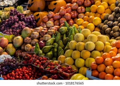 Fruits on market stall in Barcelona