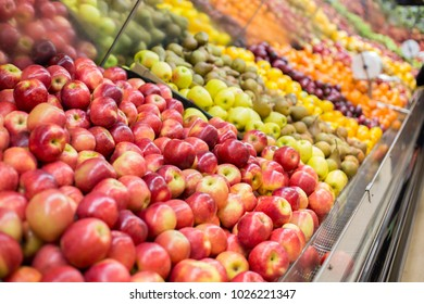 Fruits panel in supermarket