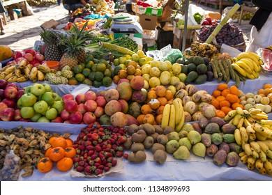 Fruits in Pisac Market in the Urubamba Valley near Cusco, Peru